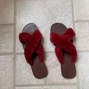 Zara Shoes - Zara leather fluffy slides 39